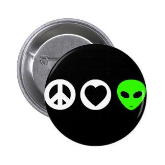 Peace Love Alien 6 Cm Round Badge