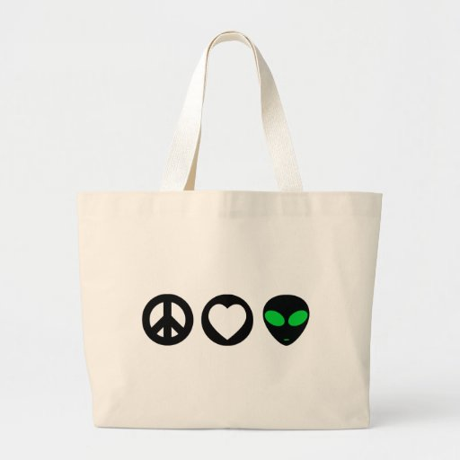 Peace Love Alien Canvas Bag