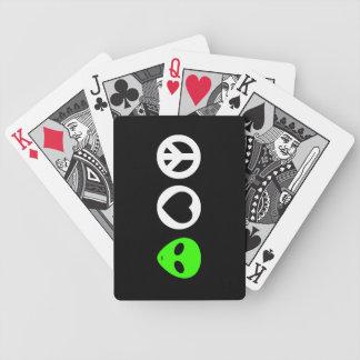 Peace Love Alien Bicycle Poker Deck