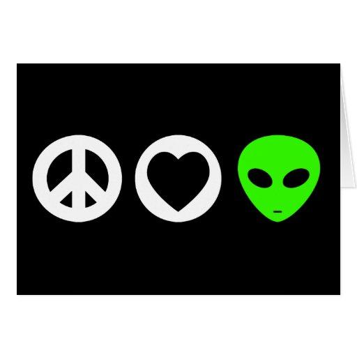 Peace Love Alien Greeting Card