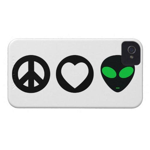 Peace Love Alien iPhone 4 Cases
