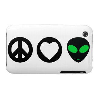 Peace Love Alien iPhone 3 Cases