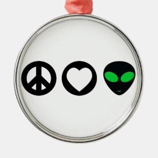 Peace Love Alien Christmas Tree Ornament