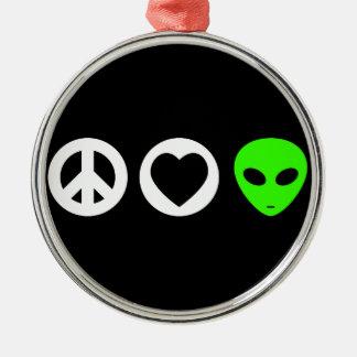 Peace Love Alien Ornaments