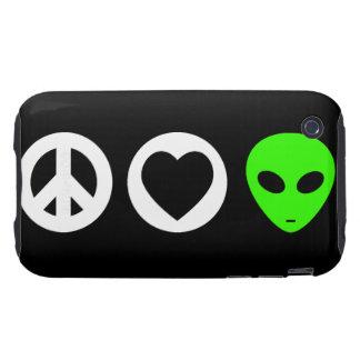 Peace Love Alien iPhone 3 Tough Case