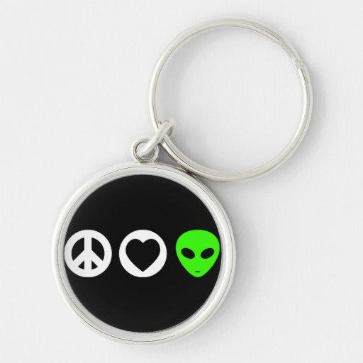 Peace Love Alien Key Chain