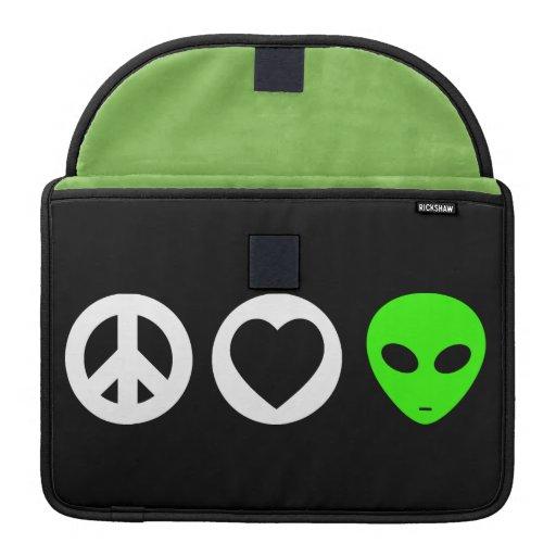 Peace Love Alien Sleeve For MacBooks