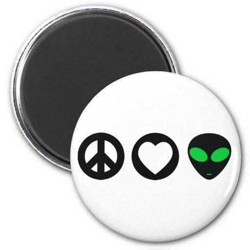 Peace Love Alien Fridge Magnet