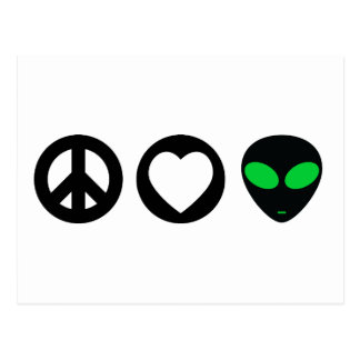 Peace Love Alien Postcard