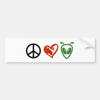 Peace Love Aliens Bumper Sticker