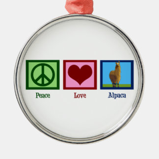 Peace Love Alpaca Christmas Ornament
