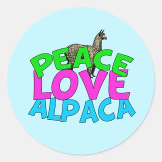 Peace Love Alpacas Classic Round Sticker
