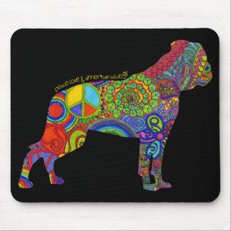 """""""Peace Love & American Bulldogs"""" Pop Art Mousepad"""