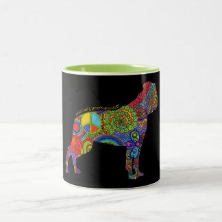 """""""Peace Love & American Bulldogs"""" Pop Art Mug"""