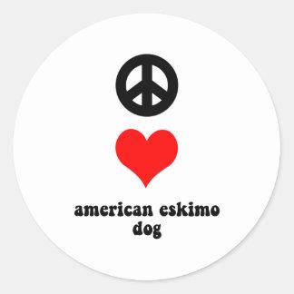 peace love american eskimo dog round sticker