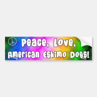 Peace Love American Eskimo Dogs Bumper Sticker