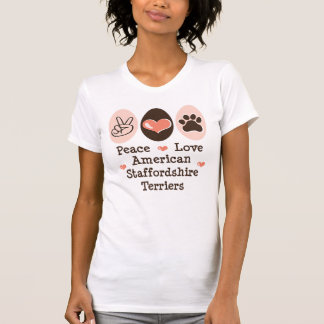 Peace Love Amstaff Terriers Distressed T shirt