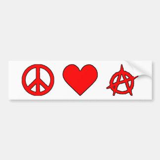 Peace Love Anarchy Bumper Sticker