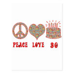 Peace Love and 30 Postcard