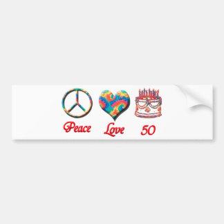 Peace Love and 50 Bumper Sticker