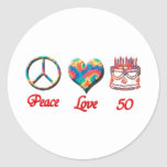 Peace Love and 50 Round Sticker