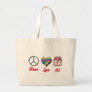 Peace Love and 60 Jumbo Tote Bag