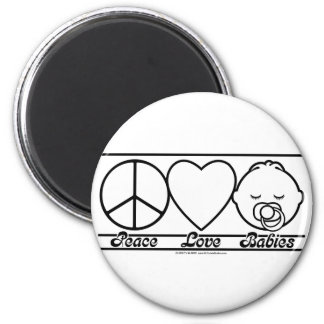 Peace Love and Babies 6 Cm Round Magnet