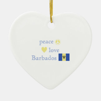 Peace Love and Barbados Christmas Ornament