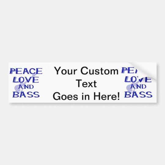peace love and bass bernice blue w guitar bumper sticker