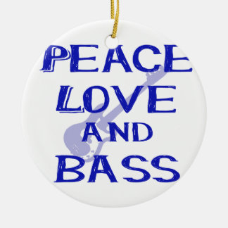 peace love and bass bernice blue w guitar christmas ornament
