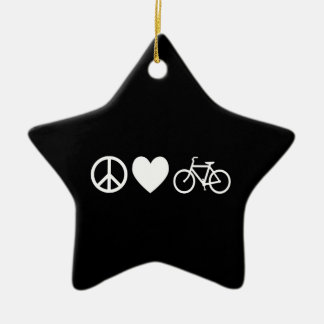 Peace Love and Bicycles Ceramic Star Decoration