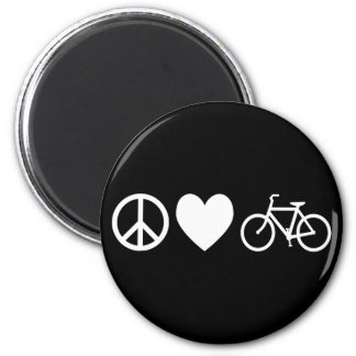 Peace Love and Bicycles Magnet