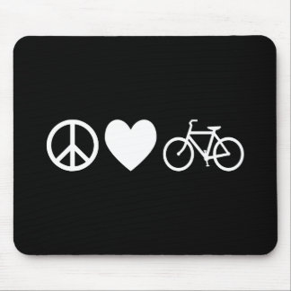 Peace Love and Bicycles Mouse Mat