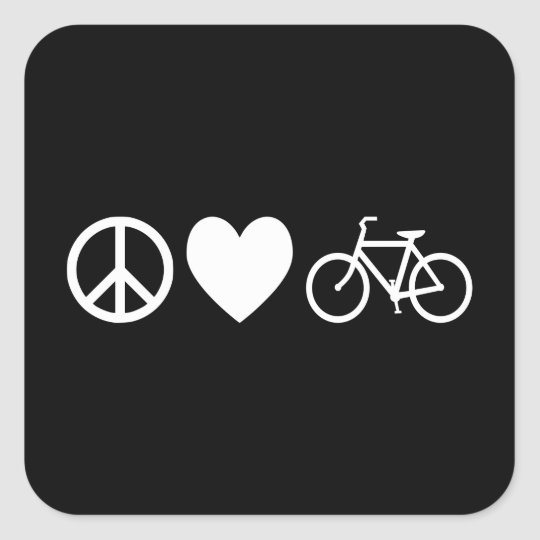 Peace Love and Bicycles Square Sticker