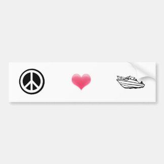 Peace, Love, and Boating Bumper Sticker