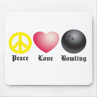 Peace, love, and bowling mouse pad