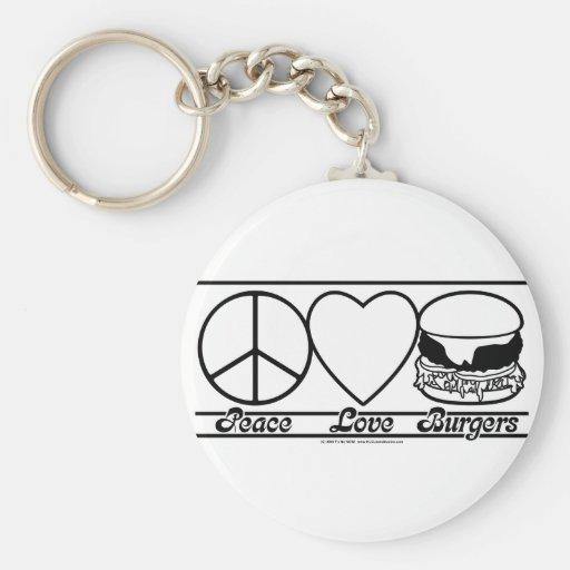 Peace Love and Burgers Keychain