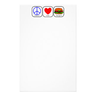 Peace, Love, and Burgers Stationery