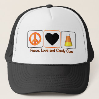 Peace, Love and Candy Corn Trucker Hat