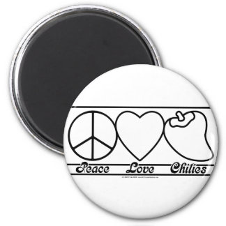Peace Love and Chilies 6 Cm Round Magnet