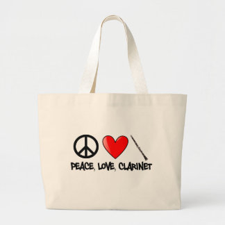 Peace, Love, and Clarinet Large Tote Bag