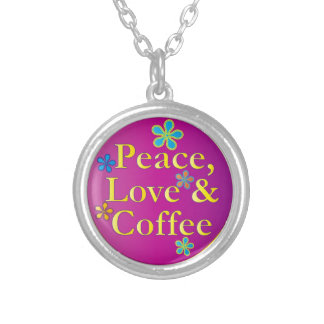 Peace Love and Coffee Necklace