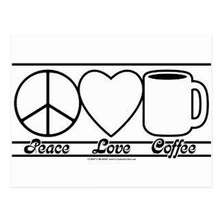 Peace Love and Coffee Postcard
