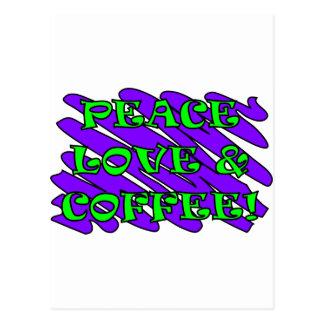 Peace Love and Coffee Splat Postcard