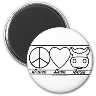 Peace Love and Cows 6 Cm Round Magnet