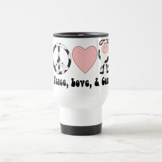 Peace Love and Cows Tees and Gifts Travel Mug