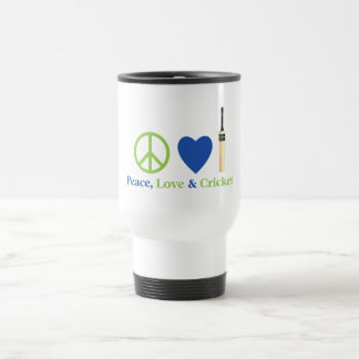 Peace Love and Cricket Tees and Gifts Stainless Steel Travel Mug