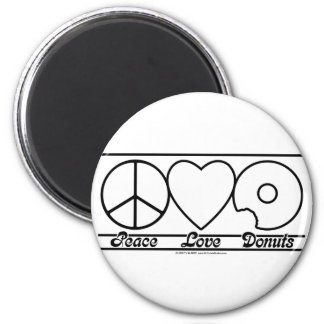 Peace Love and Donuts Magnet