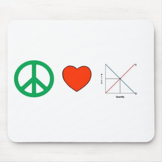 Peace Love and Economics Mouse Pad