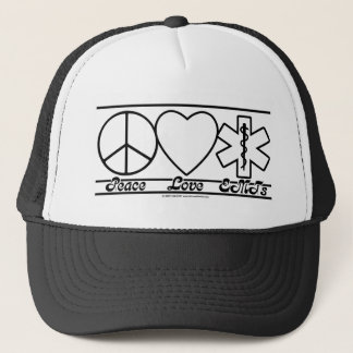 Peace Love and EMTs Trucker Hat